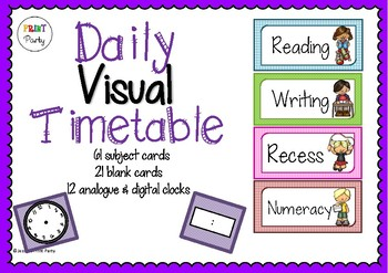 Classroom Daily Visual Timetable Schedule Cards - back to
