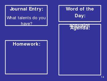 Daily Vocab, Journal Entry, Agenda and Homework PPT