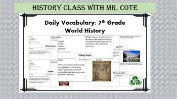 Daily Vocabulary: 7th Grade World History
