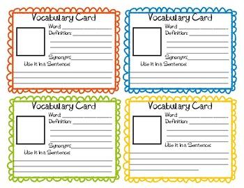 Daily Vocabulary Cards
