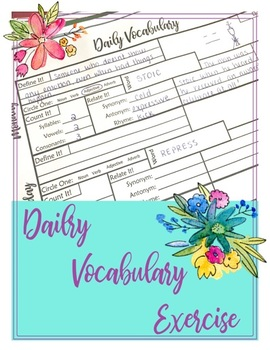 Daily Vocabulary Exercise - Weekly Sheet