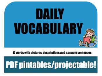 Daily Vocabulary (Expand Vocab CAFE) with Photos