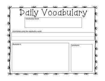 Daily Vocabulary Worksheet  FREEBIE