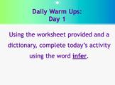 Daily Warm Ups:  Academic Vocabulary Set 1