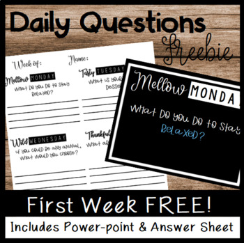 Daily Warm-Up Questions Freebie