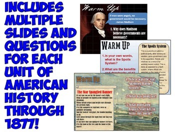 Daily Warm Up Questions for US History 1: Through 1877