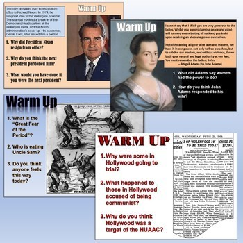 US History Daily Warm Up Questions Bundle