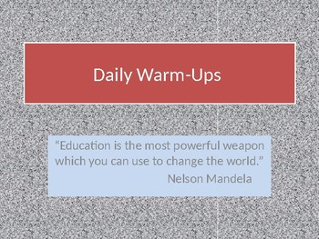 Daily Warm Up:  Quotes and Inspirational