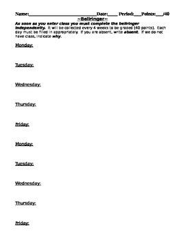Daily Warm Up Sheet - 4 weeks - Bell Ringer - warmup record sheet worksheet