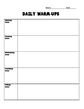 Daily Warm-Up Template