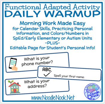 Daily Warm Up for Calendar Skills & Personal Information in Autism & Life Skills