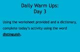 Daily Warm Ups: Academic Vocabulary Set 2