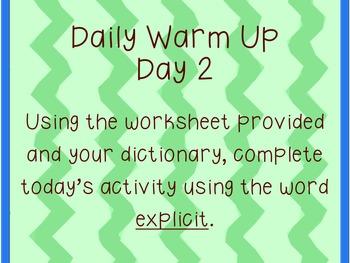 Daily Warm Ups:  Academic Vocabulary Set 3