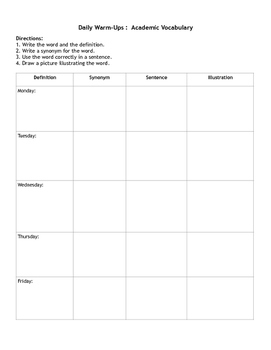 Daily Warm Ups: Academic Vocabulary Student Worksheet