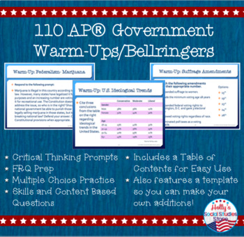 Daily Warm-Ups/Bellringers for Advanced Government