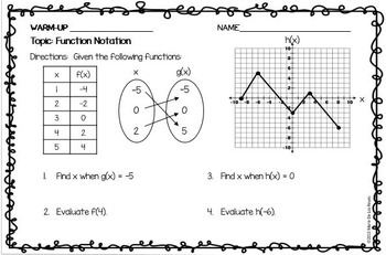 Algebra 1 Warm Ups: Functions