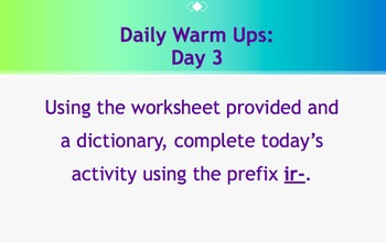Daily Warm Ups: Prefix Set 1
