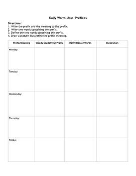 Daily Warm Ups: Prefixes Student Worksheet