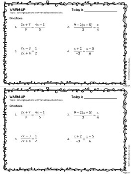 Algebra Warm-Ups: Solving Equations
