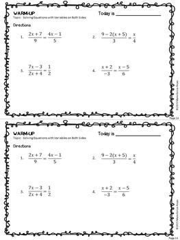 Algebra 1 Warm Ups: Solving Equations