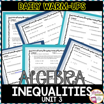 Algebra 1 Warm Ups: Inequalities