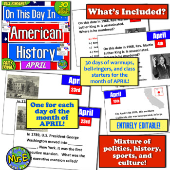 Daily Warmups & Bell Ringers for American History! On This Day in History: APRIL