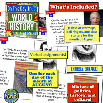 Daily Warmups & Bell Ringers for World History! On This Day in History: AUGUST!