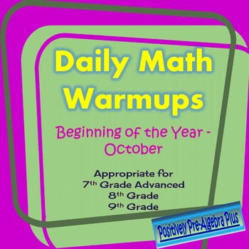 Daily Warmups for Common Core Math - Beginning of Year