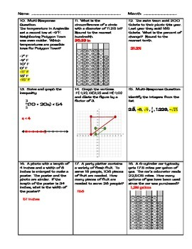 Daily Warmups for Common Core Math March/April