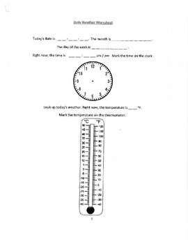 Daily Weather Worksheet pg.1