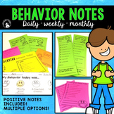 Daily/Weekly/Monthly Behavior Notes