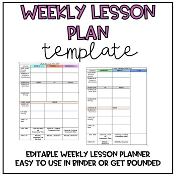Daily/Weekly Lesson Plan Template