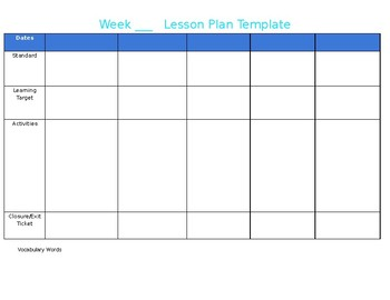 Daily & Weekly Lesson Plan Template