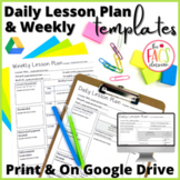 Daily/Weekly Lesson Plan Template Editable