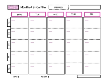 Daily/Weekly/Monthly Lesson Planner (pink)