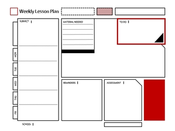 Daily/Weekly/Monthly Lesson Planner ( red )
