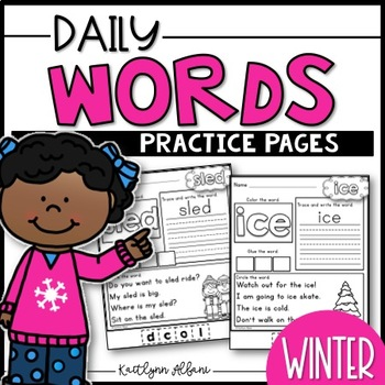 Daily Word Practice Pages - Winter