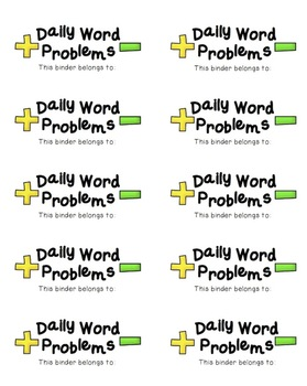 Daily Word Problem Labels