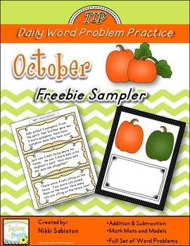 Daily Word Problem Practice:  October Freebie Sampler