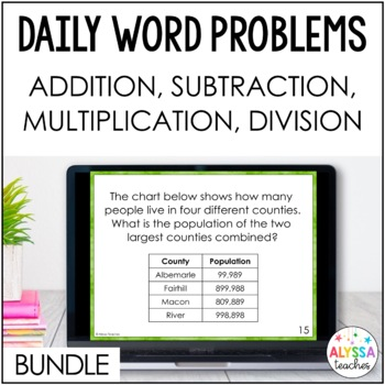 Daily Word Problems Bundle (SOL 4.4)