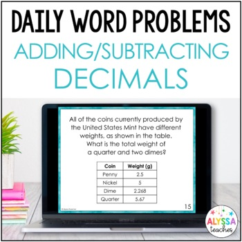 Daily Word Problems: Decimal Addition & Subtraction (SOL 4.3b & SOL 4.5d)