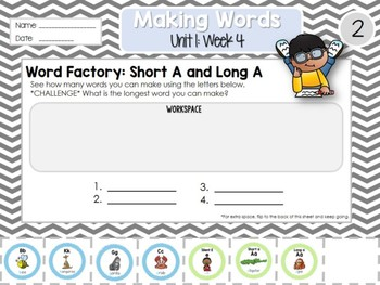 Daily Word Work: Making Words 2nd Grade UNIT 1: WEEK 4