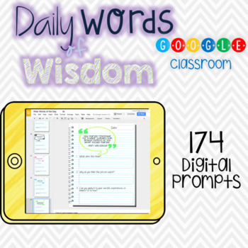 Daily Words of Wisdom Journal Warm Up for Google Classroom and Drive