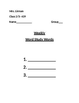 Daily Words of the Week Homework