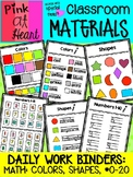 Daily Work Binders: Math (Colors, Shapes, Numbers 0-20)