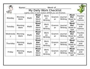 Daily Work Checklist