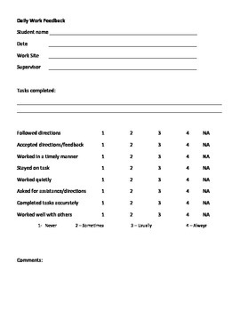 Daily Work Feedback Form - job skill evaluation