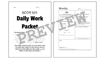 Daily Work Packet - EDITABLE