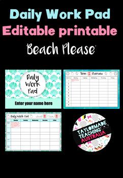 Daily Work Pad - 'Beach, Please'