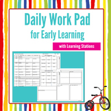 Daily Work Pad Template for Early Learning Planning Resource for Kinder or Prep